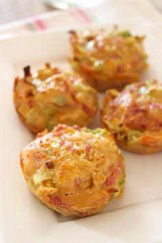 Hartige muffins met ham, kaas en prei - Lekker en Simpel Mijn idee : tortillia in muffinvorm, dan de ham kaas prei en een beetje gekruid pannekoekbeslag