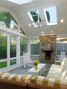 Beautiful sun room! But would also be amazing for storms.