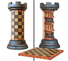 Rook Tower pack-away wooden chess board - crazy_inventions Wood Projects, Woodworking Projects, Woodworking Videos, Woodworking Plans, Welding Projects, Woodworking Tools, Craft Projects, Wooden Chess Board, Chess Boards