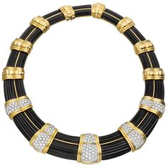 "Collar necklace, designed with large fluted black onyx panels, separated by five pavé diamond and yellow gold links to the front, as well as eight yellow gold links to the back, with 188 circular-cut diamonds weighing approximately 9.00 total carats, mounted in 18k gold, signed ""WEBB"" for David Webb. 21st century"