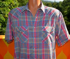 vintage 70s shirt plaid SADDLEBROOK western short sleeve pearl snaps pastel button down cowboy XL 80s blue pink