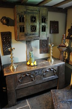 Baroque Furniture, Medieval Furniture, Primitive Furniture, Woodworking Furniture, Home Furniture, Antique Cupboard, Antique Chest, English Cottage Interiors, Witch Room