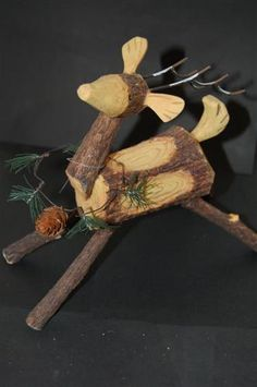fancy log reindeer.... this one isn't actually logs though, its resin.