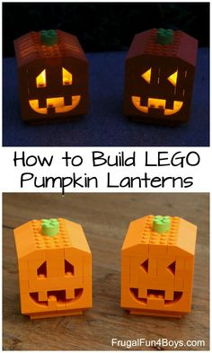 to Build Pumpkin Lanterns with LEGO Bricks How to Build Pumpkin Lanterns with LEGO Bricks - fun October building idea! Instructions in the post.How to Build Pumpkin Lanterns with LEGO Bricks - fun October building idea! Instructions in the post. Lego Halloween, Fall Halloween, Halloween Crafts, Halloween Pumpkins, Lego Moc, Lego Duplo, Lego Minecraft, Minecraft Buildings, Minecraft Skins