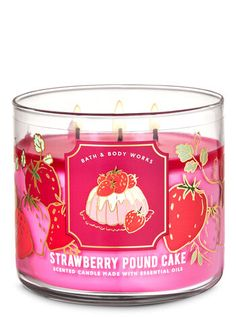 Strawberry Filled Cupcakes, Pound Cake With Strawberries, Strawberry Filling, Bath Candles, 3 Wick Candles, Scented Candles, Bath Body Works, Fall Scents, Candle Making