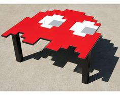 Pac-Man (Coffee Table) - Blinky the Red Ghost! 80's retro video game furniture - the best interior decoration ever!    http://www.etsy.com/listing/77116618/pacman-ghost-table-large-coffee-table  red, teal blue, orange, and pink omg!