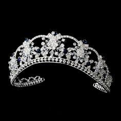 Glitzy Navy Blue Swarovski Crystal Bridal Tiara - perfect for your Winter Wedding! - Affordable Elegance Bridal -