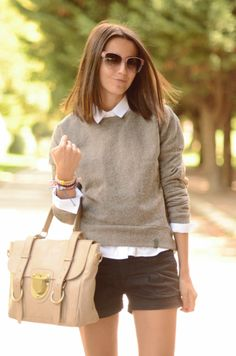 Pretty neutrals for fall- I just bought these shorts, & I already have the sweater & white button up ;)