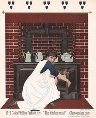A common outfit for a housemaid in the Edwardian era included a black dress worn with a one piece full length apron  The style was all in the apron with pocket and cross strap back. Button closures on each shoulder. The apron  might have a lace trim around the neckline, arms and hemline. A head parlourmaid [ Sarah O Brien ] or head housemaid [ Anna Bates ]   could also double as a ladys maid.  Common wages at the time in a large house like Downton Abbey was about Twenty pounds a year.