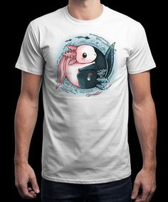 """Ying Yang Axolotl"" is today's £9/€11/$12 tee for 24 hours only on www.Qwertee.com Pin this for a chance to win a FREE TEE this weekend. Follow us on pinterest.com/qwertee for a second! Thanks:)"