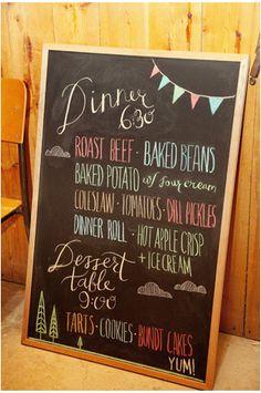 chalkboard menu. Love it!