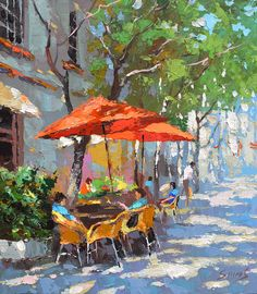 In the shadow of cafe - oil palette knife paintings by Dmitry Spiros, 24 x 24 in, 60x60cm.