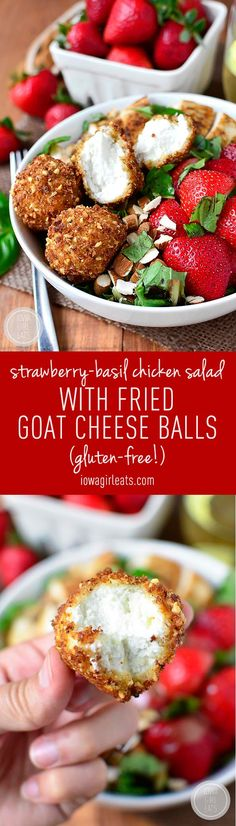 Strawberry-Basil Chicken Salad with Fried Goat Cheese Balls is a fresh and flavor-packed dish - crunchy, creamy, sweet, and savory! #glutenfree | iowagirleats.com