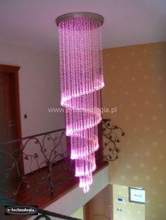 kolorowe lampy - lampy z kryształami - długie lampy e-technologia