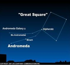 It's the large spiral galaxy next door to our Milky Way. Today's sky chart shows you how to star-hop to the Andromeda galaxy from the Great Square of Pegasus. Andromeda Constellation, Andromeda Galaxy, Space And Astronomy, Hubble Space, Space Telescope, Space Shuttle, Spiral Galaxy, Hubble Images, Whirlpool Galaxy