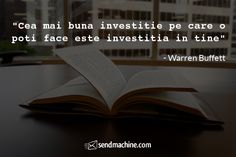 """Cea mai buna investitie pe care o poti face este investitia in tine"" - Warren Buffett Warren Buffett, Mai, Movie Posters, Movies, Inspiration, Biblical Inspiration, Films, Film Poster, Cinema"