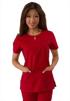 Koi Happiness Women's Carina Keyhole Neckline Solid Scrub Top in a Valentine's Day red. Red Scrubs, Cute Scrubs, Scrubs Outfit, Scrubs Uniform, Medical Scrubs, Nursing Scrubs, Work Uniforms, Medical Uniforms, Nursing Dress