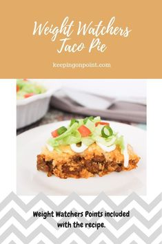 Bake - Weight Watchers Freestyle Taco Pie - Weight Watchers Freestyle Only 7 Freestyle points per serving!Taco Pie - Weight Watchers Freestyle Only 7 Freestyle points per serving! Healthy Low Carb Recipes, Ww Recipes, Dessert Recipes, Recipies, Dinner Recipes, Detox Recipes, Weight Watchers Diet, Weight Watcher Dinners, Delicious Desserts