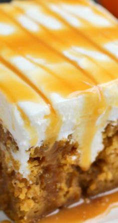 Pumpkin Caramel Cream Cheese Poke Cake ~ A pumpkin spice cake is drizzled with caramel sauce, frosted with a decadent cream cheese frosting and topped with even more caramel sauce... You'll love every single morsel of this uber moist, delicious cake!