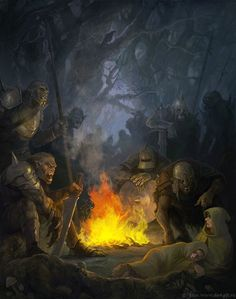 Orcs, with a captured Merry and Pippin at their side.