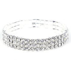 5.5cm Rhinestone Crystal Wedding Accessories Bride Jewelry Bracelet 3 Row http://www.eozy.com/vintage-lace-red-flower-ribbon-pendant-bracelet-ring-jewelry-set.html