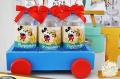 Mickey Mouse water bottles from a Vintage Mickey Mouse Themed Birthday Party via Kara's Party Ideas   KarasPartyIdeas.com (18)