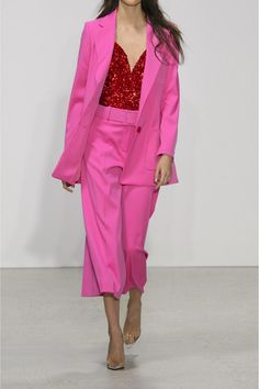 GABRIELLE'S AMAZNG FANTASY CLOSET   Oscar de la Renta's Fuchsia Wool-Blend Elongated Blazer, the Matching Culotte and Red Sequined Bustier (Runway Shot) You can see all of the Images of this Outfit and my Remarks on this board. - Gabrielle