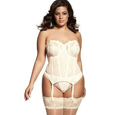 Incredibly supportive yet beautiful, the Elomi Ocassions Underwire Basque is a wonderful undergarment for brides of all sizes. White Lingerie, Wedding Lingerie, Plus Size Lingerie, Sexy Lingerie, Vintage Lingerie, Plus Zise, Honeymoon Outfits, Curvy Bride, Plus Size Wedding