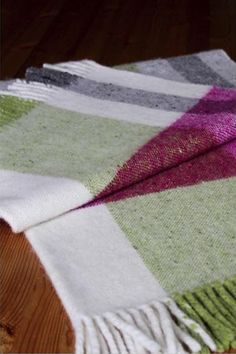 Mediterranean #Throw - Big blocks of mediterranean colours - no harmony, no co-ordination, no balance just blocks of colour butted together or piled on top of each other - a jumble of colour washed blocks falling down a hillside in the sunny south of somewhere.  #Handwoven, washed and milled with rolled fringes.