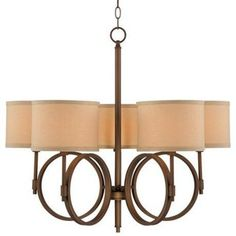 """$200 Sold Out - Brushed Bronze Linen Shade 28 1/4"""" Wide 5-Light Chandelier. LAMPSPLUS.COM Brushed bronze finish. Linen shades. Takes five 60 watt bulbs (not included). 28 1/4"""" wide. 24 3/4"""" high. Includes 6 feet chain and 12 feet wire. Canopy is 5"""" wide. Hang weight is 9 pounds."""