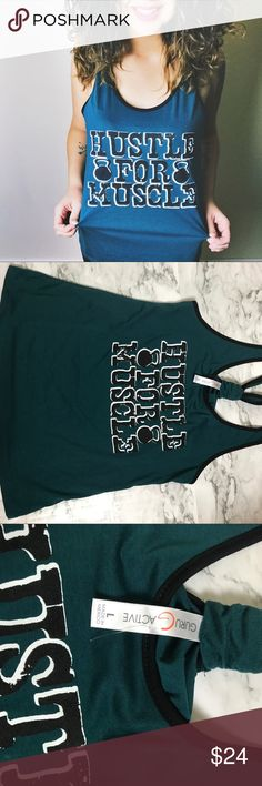 NWOT Hustle for Muscle Graphic Workout Tank This is completely new , never worn. Tags unfortunately fell off and are not attached! Such a fun way to show your dedication at the gym! guru active Tops Tank Tops