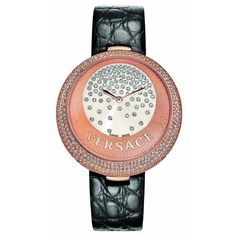 Versace Women's 87Q81D98F S009 Perpetuelle Rose Gold IP White Dial Black Alligator Leather Diamond Watch: Watches: Amazon.com
