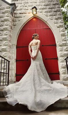 Beautiful shot to show off wedding gown train.