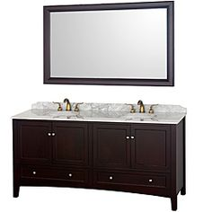Wyndham Collection Audrey Espresso 72-Inch Solid Oak Double Bathroom Vanity | Overstock.com