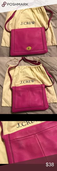 Pink J. Crew purse Pink crossbody leather purse with dust bag.  Some color transfer on the back side. J. Crew Bags Crossbody Bags