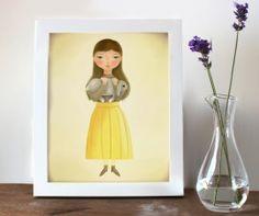 Print meisje met konijn 20 x 25 cm