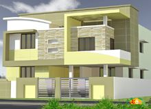 Double storied Flat roof Contemporary House Less than 3000sqft