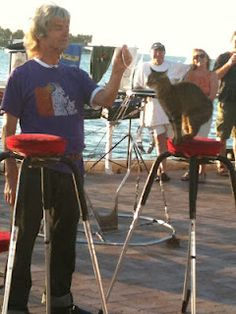 The cat man and his nightly cat variety show on Mallory Square
