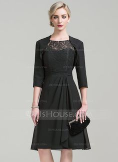 [US$ 95.49] A-Line/Princess Scoop Neck Knee-Length Chiffon Lace Mother of the Bride Dress With Cascading Ruffles
