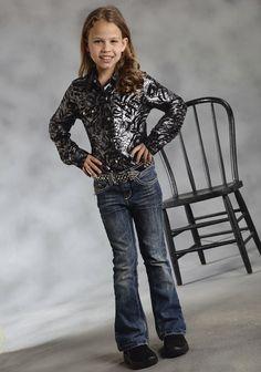 MidNight Shimmer : Girl's Western Show Shirt | Free Shippin on Girls Western Wear