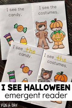 A free printable book about Halloween! This emergent reader is perfect for preschool or kindergarten this October. There's two different versions to choose from, depending on the needs of your class. A fun way to build early literacy skills by using the excitement of the holiday season! Fall Preschool Activities, Early Learning Activities, Preschool Lesson Plans, Free Preschool, Preschool Printables, Halloween Books For Kids, Halloween Science, Halloween Activities For Kids, Literacy Skills