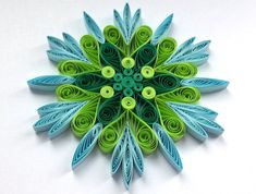 Snowflake Green Blue Christmas Tree Decoration Winter Ornaments Gifts Toppers Fillers Office Corporate Paper Quilling Quilled Handmade Art This is a unique handmade quilled snowflake! Amazing Christmas gift for Your loved ones and suitable for all winter occasions. You can hang it on