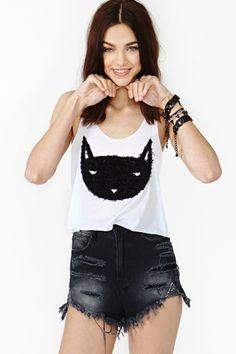 Black Cat Crop Tank - Nasty Gal Fashion