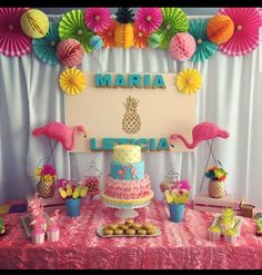 No se que escribir son sólo temática de fiestas Flamingo Birthday, Luau Birthday, 3rd Birthday Parties, Kids Luau Parties, Luau Party, Flamenco Party, Tropical Party, Birthday Decorations, First Birthdays