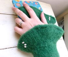 Felt fingerless gloves knit wrist warmers green fingerless gloves hand knit ready to ship winter wear women's gift idea accessory by SixthandDurianGifts