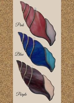 Bring a bit of the ocean to your home by hanging one of these gorgeous seashell suncatchers in your window. Currently available in four colors: ~ Pink ~ Purple ~ Blue ~ Brown Due to the variations of the types of glass used, each shell is unique and truly one of a kind. (Listing is for ONE