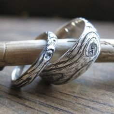 wood grain wedding ring PLYWOOD sterling silver by ballandchain, $150.00