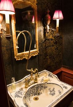 Powder Room. I absolutely LOVE this Powder Room...the sink, the faucet, the mirror, the sconces, and the wallpaper need I say more?