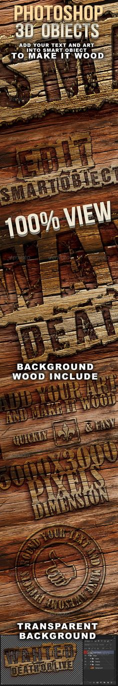 Free Download : Photoshop 3D Wood Text