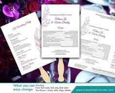 diy printable wedding fan program template by happybluecat diy